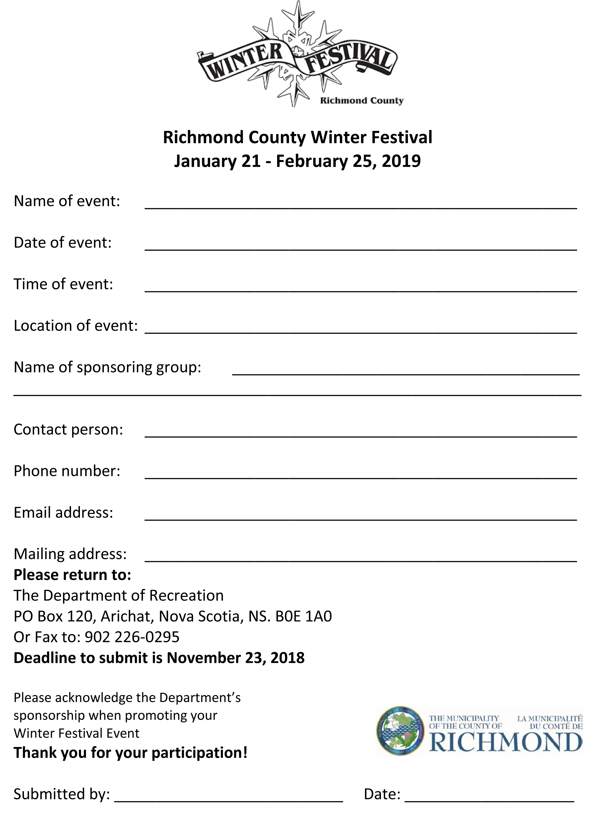 Richmond County Winter Festival Form