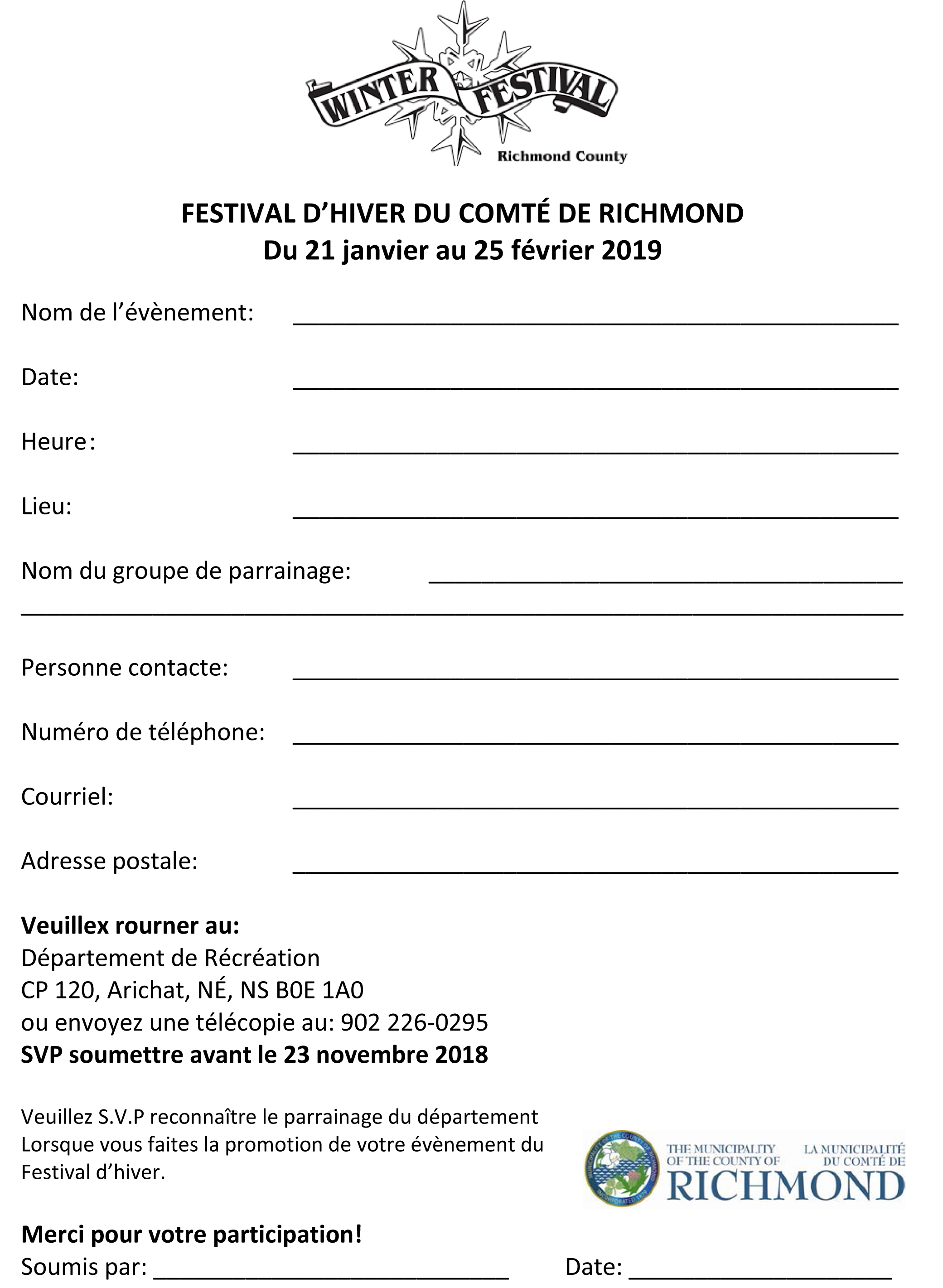 Richmond County Winter Festival Form French